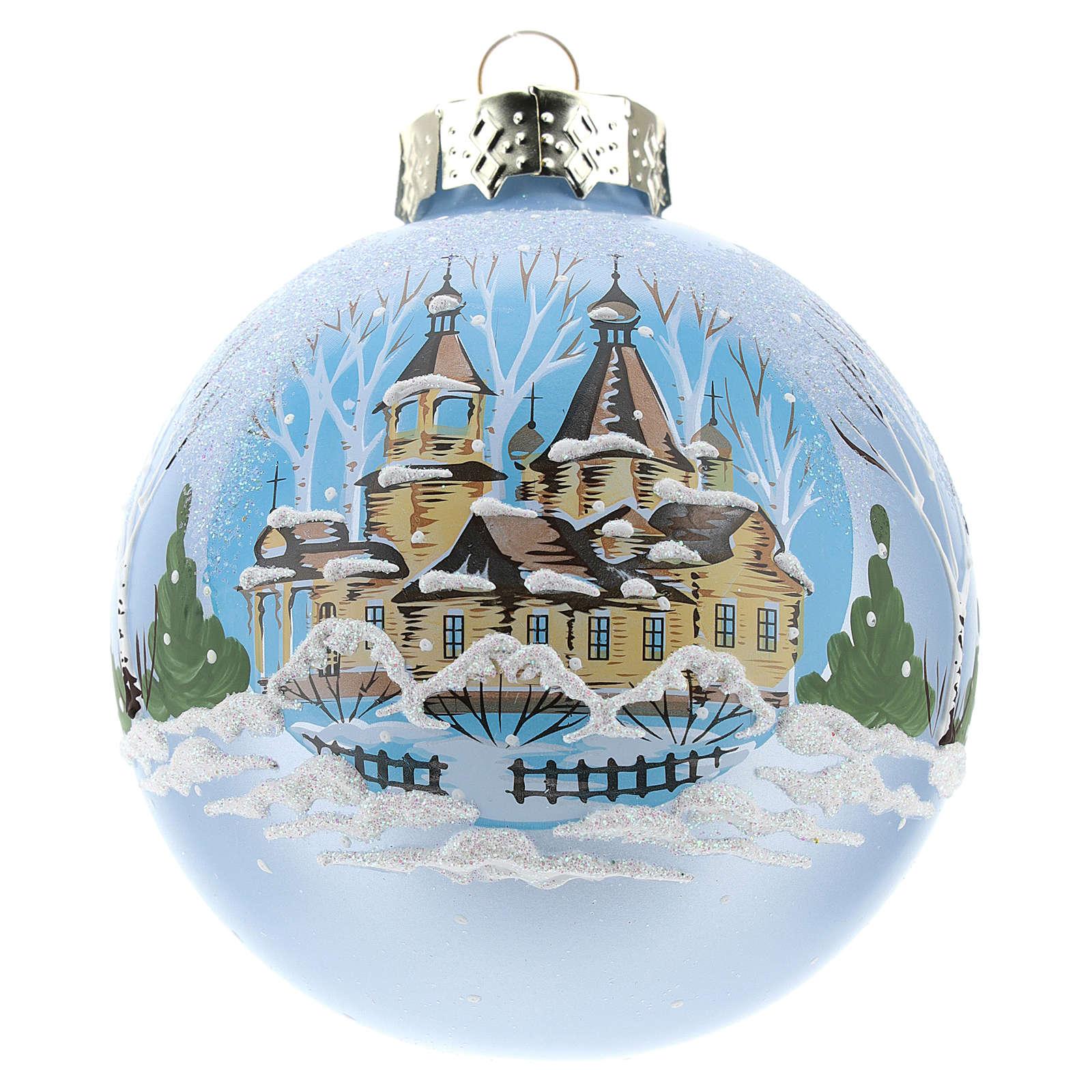 Pallina per Albero di Natale azzurra e paesaggio 80 mm  4