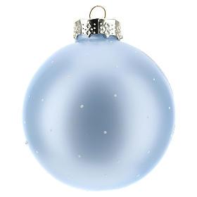 Pallina per Albero di Natale azzurra e paesaggio 80 mm  s3