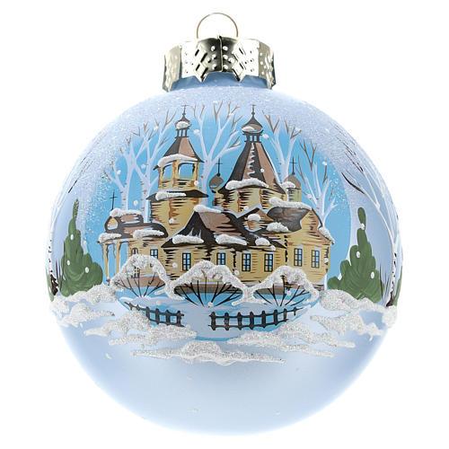 Pallina per Albero di Natale azzurra e paesaggio 80 mm  1