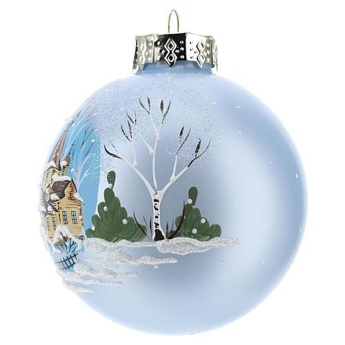 Pallina per Albero di Natale azzurra e paesaggio 80 mm  2