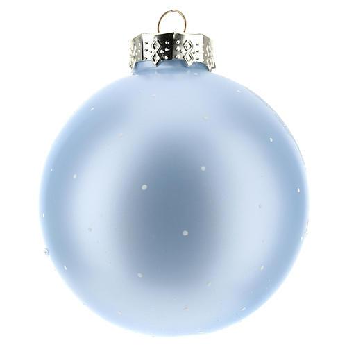 Pallina per Albero di Natale azzurra e paesaggio 80 mm  3
