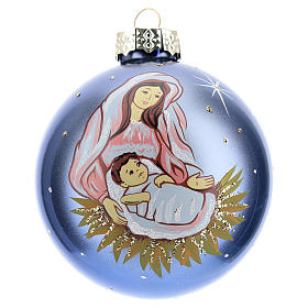 Christmas ball with Virgin Mary and child 8 cm s1
