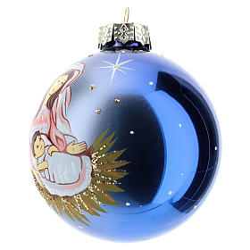Christmas ball with Virgin Mary and child 8 cm s2
