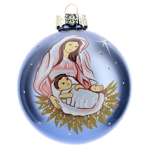Christmas ball with Virgin Mary and child 8 cm 1