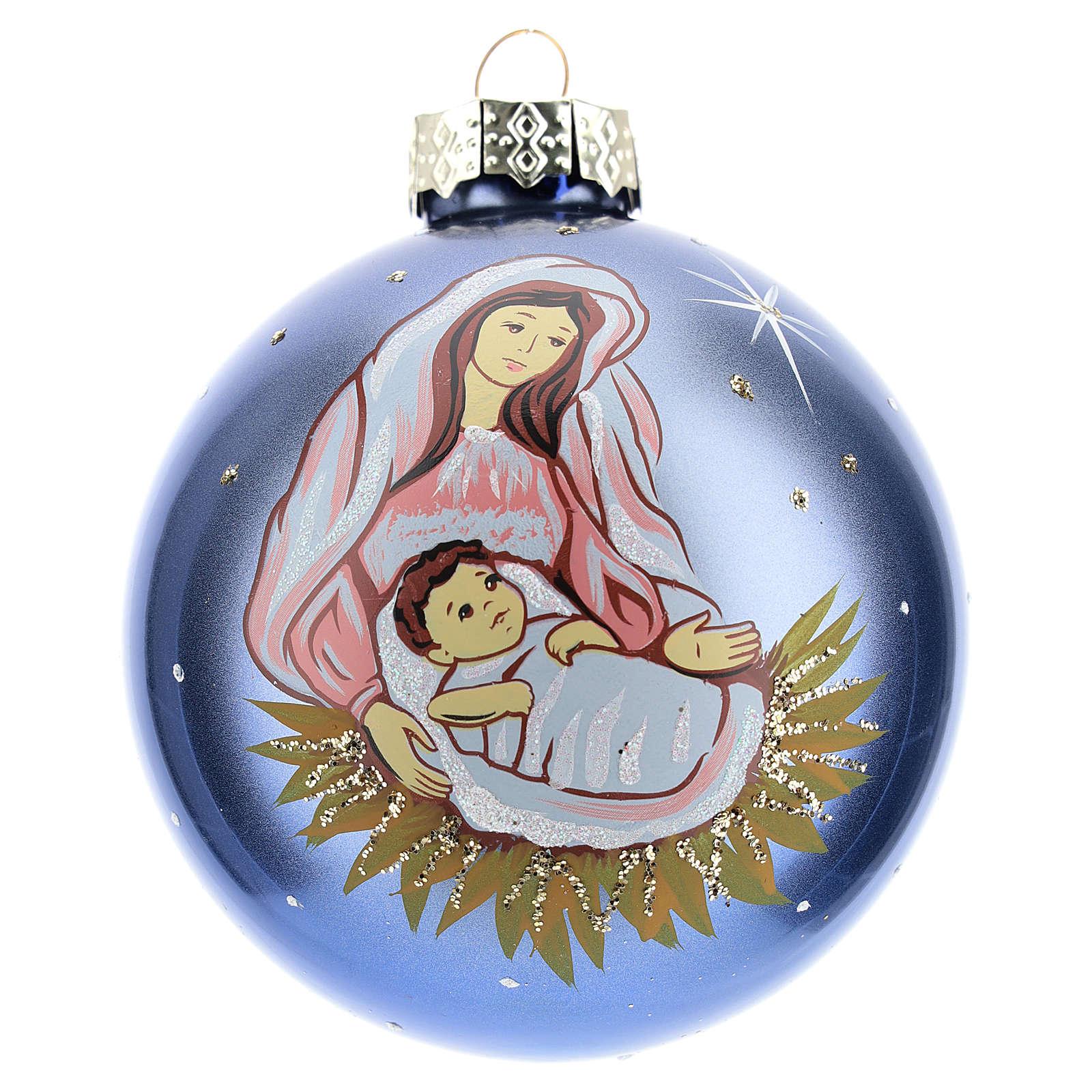 Bola de Navidad con Virgen y Niño 80 mm 4
