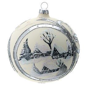 Bola de Navidad de 120 mm decorada con paisaje nevado s1