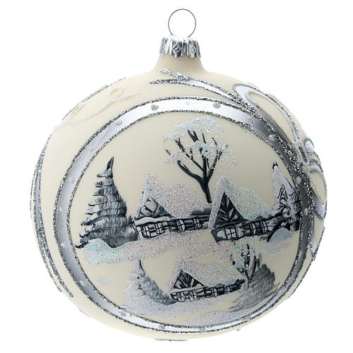 Bola de Navidad de 120 mm decorada con paisaje nevado 1