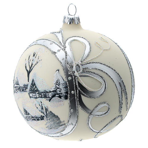 Bola de Navidad de 120 mm decorada con paisaje nevado 2
