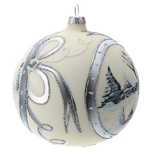 Bola de Navidad de 120 mm decorada con paisaje nevado 3