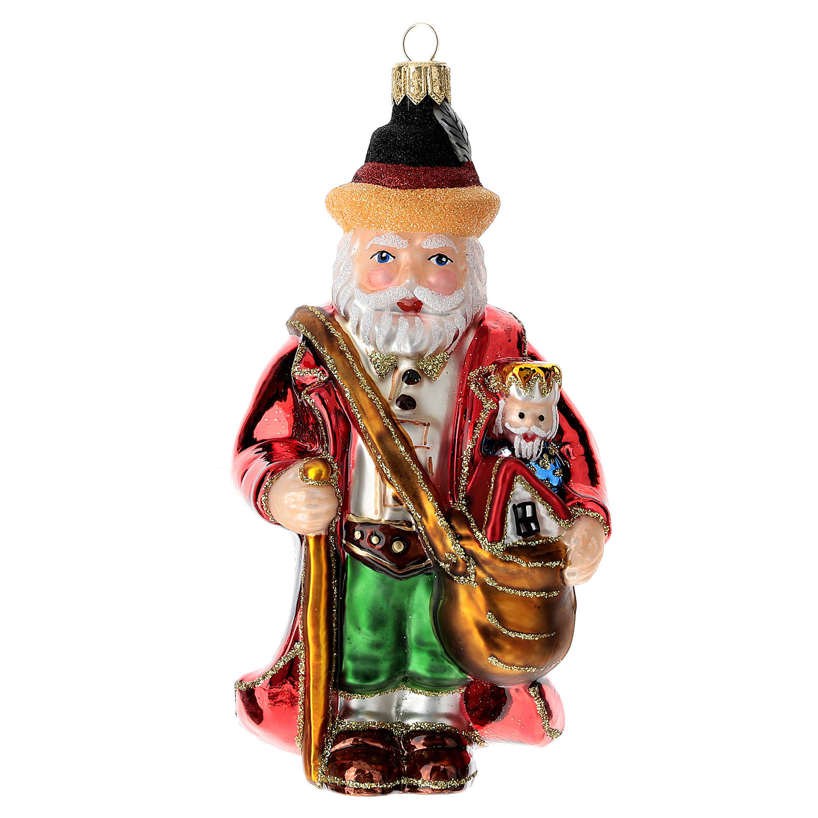 Blown glass Christmas ornament, Santa Claus in Germany 4