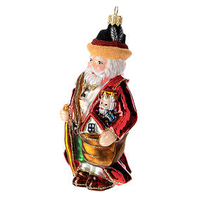 German Santa Claus blown glass Christmas tree ornament s2