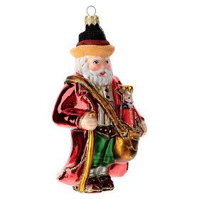 German Santa Claus blown glass Christmas tree ornament s3