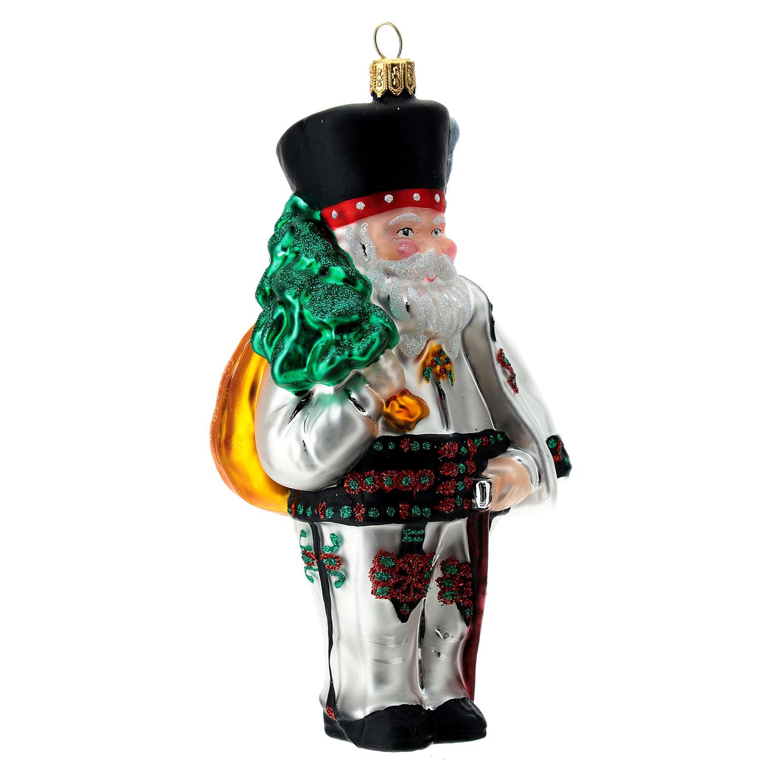 Père Noël polonais verre soufflé décoration sapin Noël 4