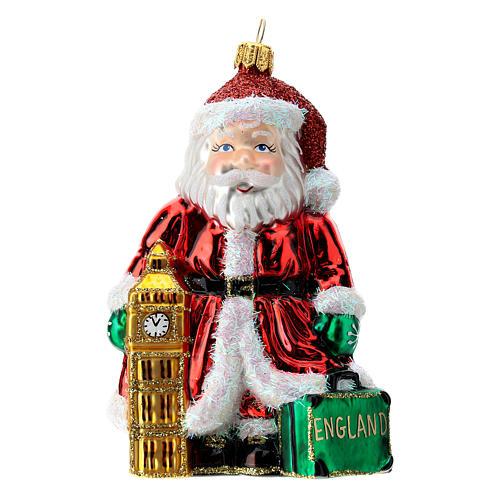 Papá Noel inglés Big Ben adorno Árbol Navidad vidrio soplado 1