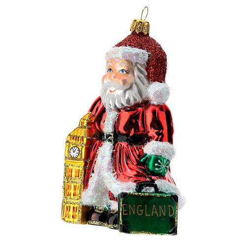 Papá Noel inglés Big Ben adorno Árbol Navidad vidrio soplado 2