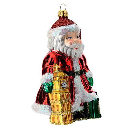 Papá Noel inglés Big Ben adorno Árbol Navidad vidrio soplado 3