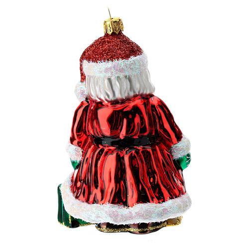 Papá Noel inglés Big Ben adorno Árbol Navidad vidrio soplado 4