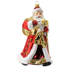 Blown glass Christmas ornament, Santa Claus red and gold s1