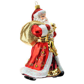 Blown glass Christmas ornament, Santa Claus red and gold s3