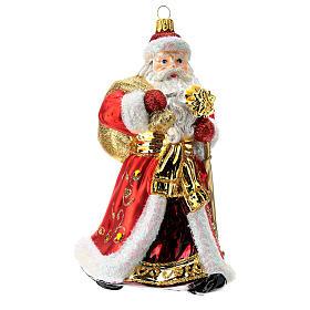 Papá Noel adorno para árbol vidrio soplado rojo y oro s1