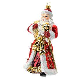Papá Noel adorno para árbol vidrio soplado rojo y oro s2