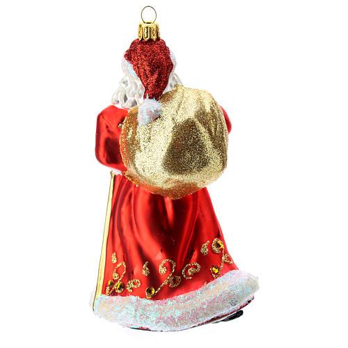 Papá Noel adorno para árbol vidrio soplado rojo y oro 4