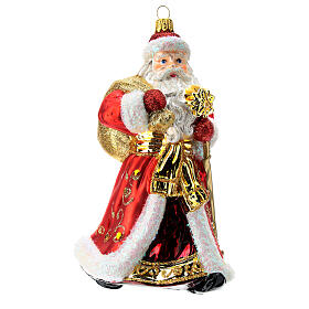 Santa Claus Christmas ornament in blown glass, red and gold s1