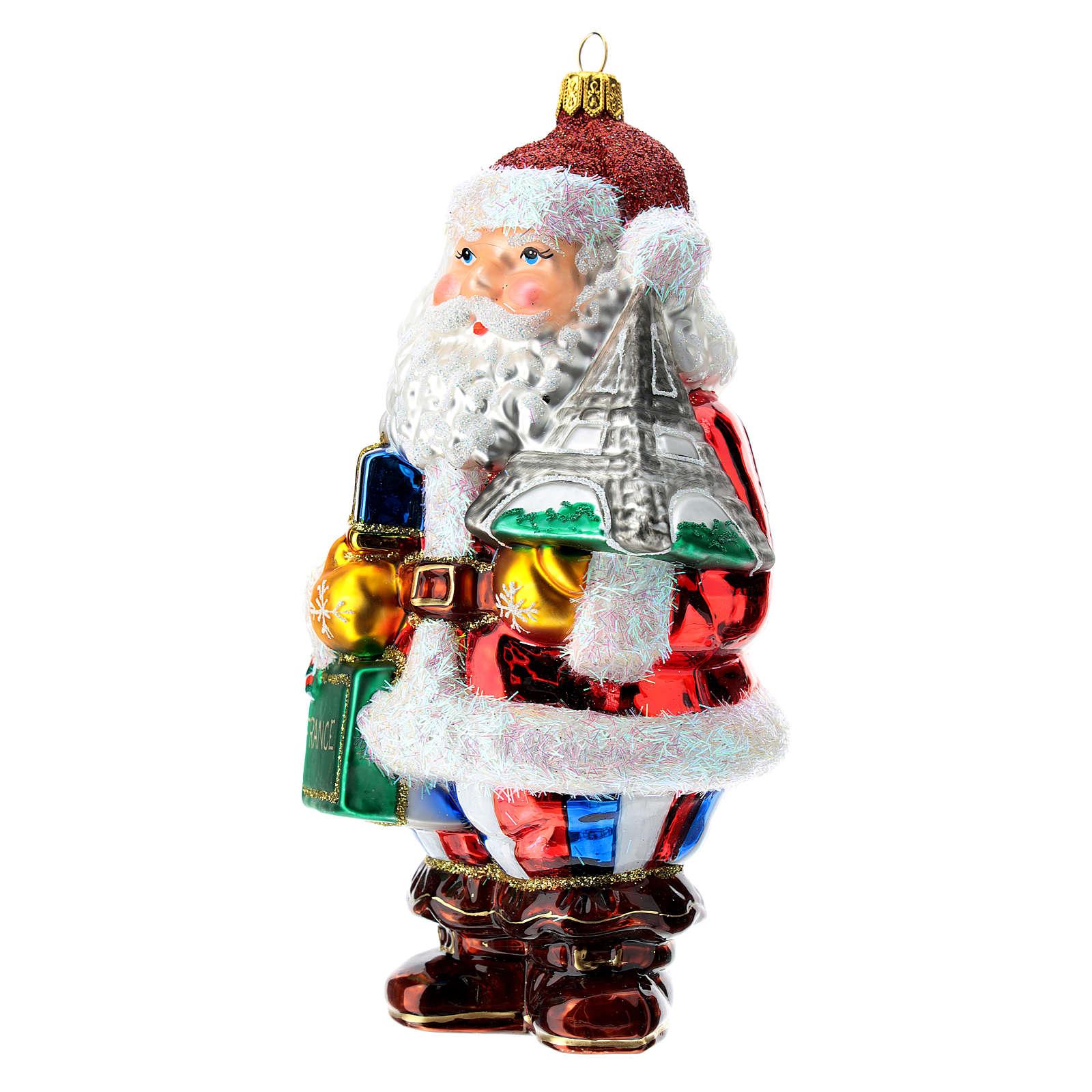Blown glass Christmas ornament, Santa Claus in France 4