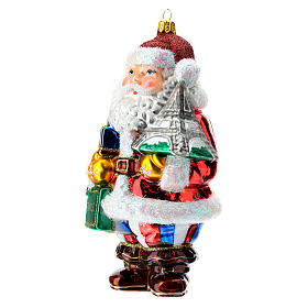 Blown glass Christmas ornament, Santa Claus in France s2