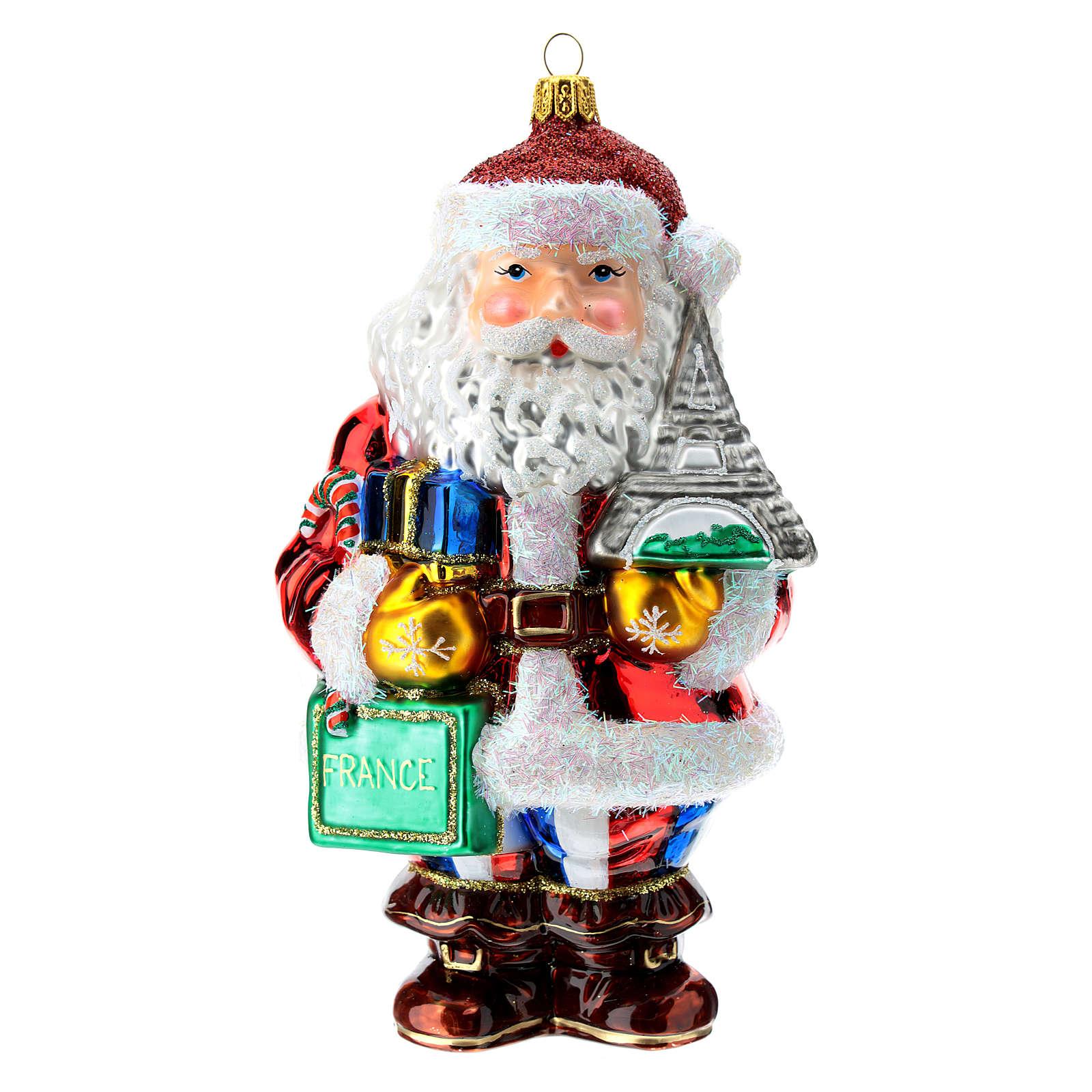Papá Noel francés vidrio soplado adorno para árbol 4