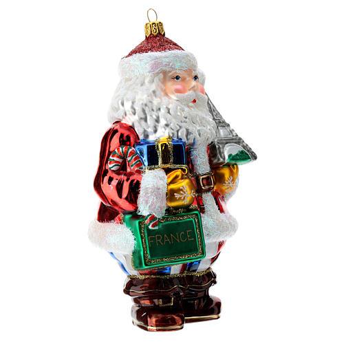 Papá Noel francés vidrio soplado adorno para árbol 3