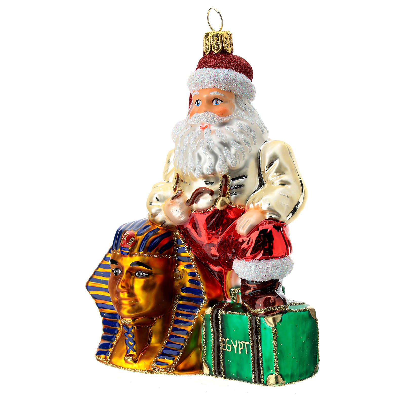 Papá Noel en Egipto adorno árbol de Navidad vidrio soplado 4