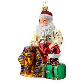 Papá Noel en Egipto adorno árbol de Navidad vidrio soplado s2