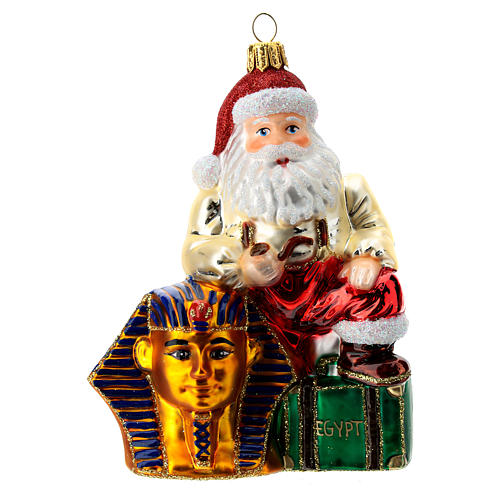 Papá Noel en Egipto adorno árbol de Navidad vidrio soplado 1