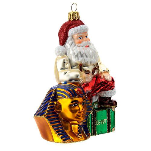 Papá Noel en Egipto adorno árbol de Navidad vidrio soplado 3
