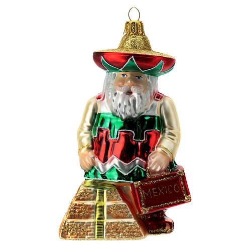 Papá Noel mexicano adorno Árbol de Navidad vidrio soplado 1