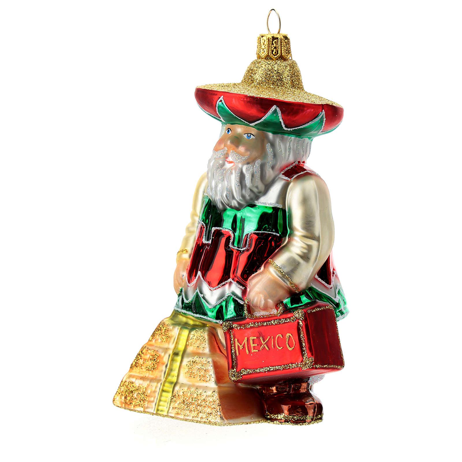 Babbo Natale messicano addobbo albero di natale vetro soffiato 4