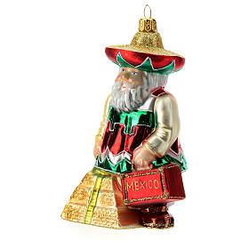 Babbo Natale messicano addobbo albero di natale vetro soffiato s2