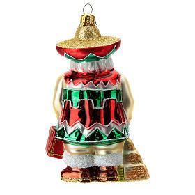 Babbo Natale messicano addobbo albero di natale vetro soffiato s4