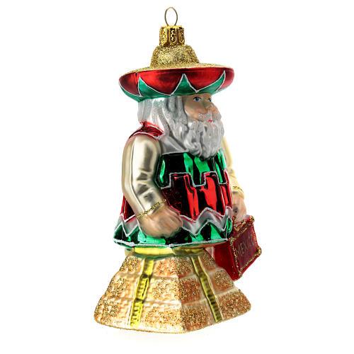 Babbo Natale messicano addobbo albero di natale vetro soffiato 3