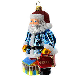 Blown glass Christmas ornament, Santa Claus in Greece s2