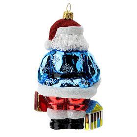 Blown glass Christmas ornament, Santa Claus in Greece s4