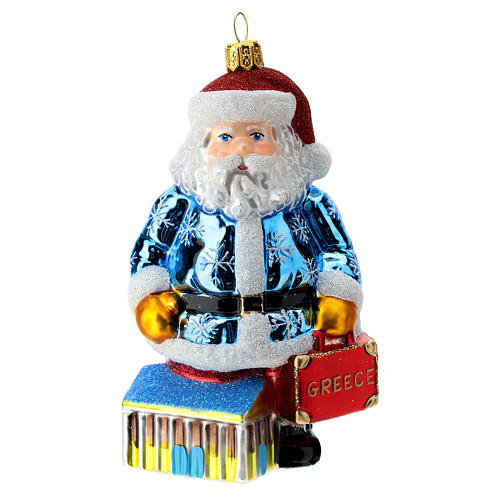 Blown glass Christmas ornament, Santa Claus in Greece 1