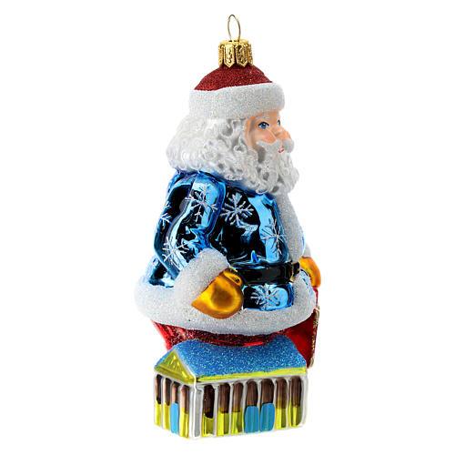 Blown glass Christmas ornament, Santa Claus in Greece 3
