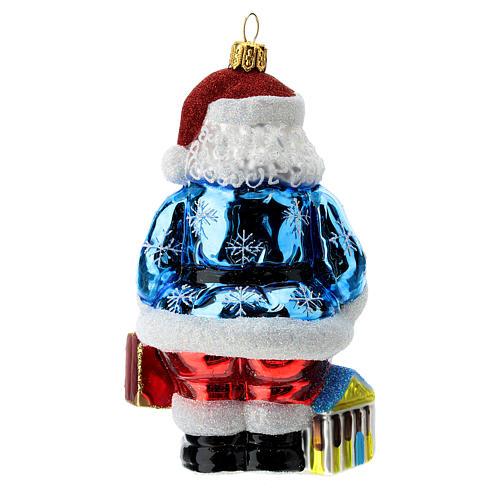 Blown glass Christmas ornament, Santa Claus in Greece 4