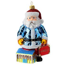 Babbo Natale Grecia Partenone addobbo albero di natale vetro soffiato s1