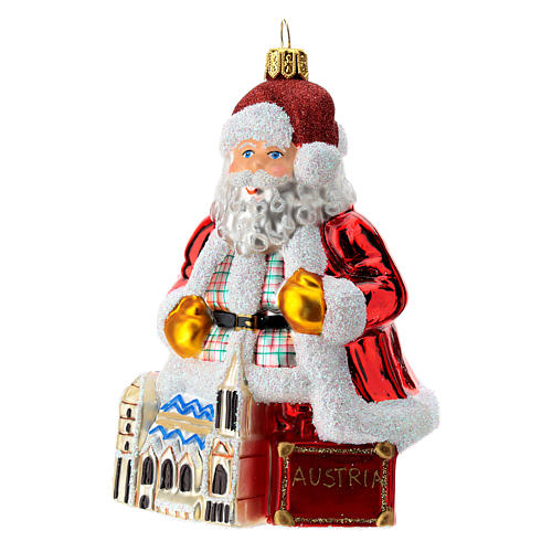 Blown glass Christmas ornament, Santa Claus in Austria 2