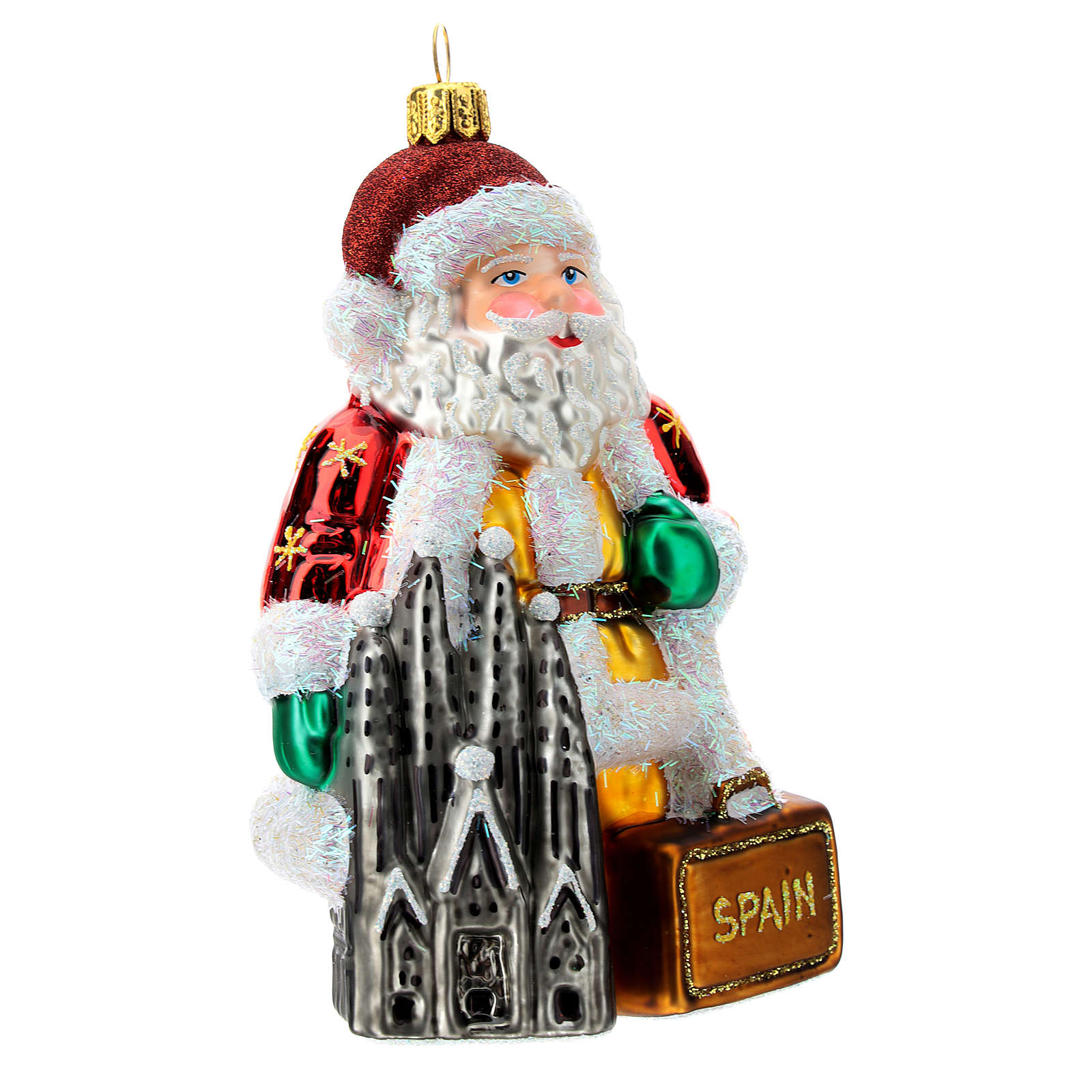 Blown glass Christmas ornament, Santa Claus in Spain 4