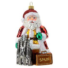 Babbo Natale Spagna addobbo albero Natale vetro soffiato 13 cm s1