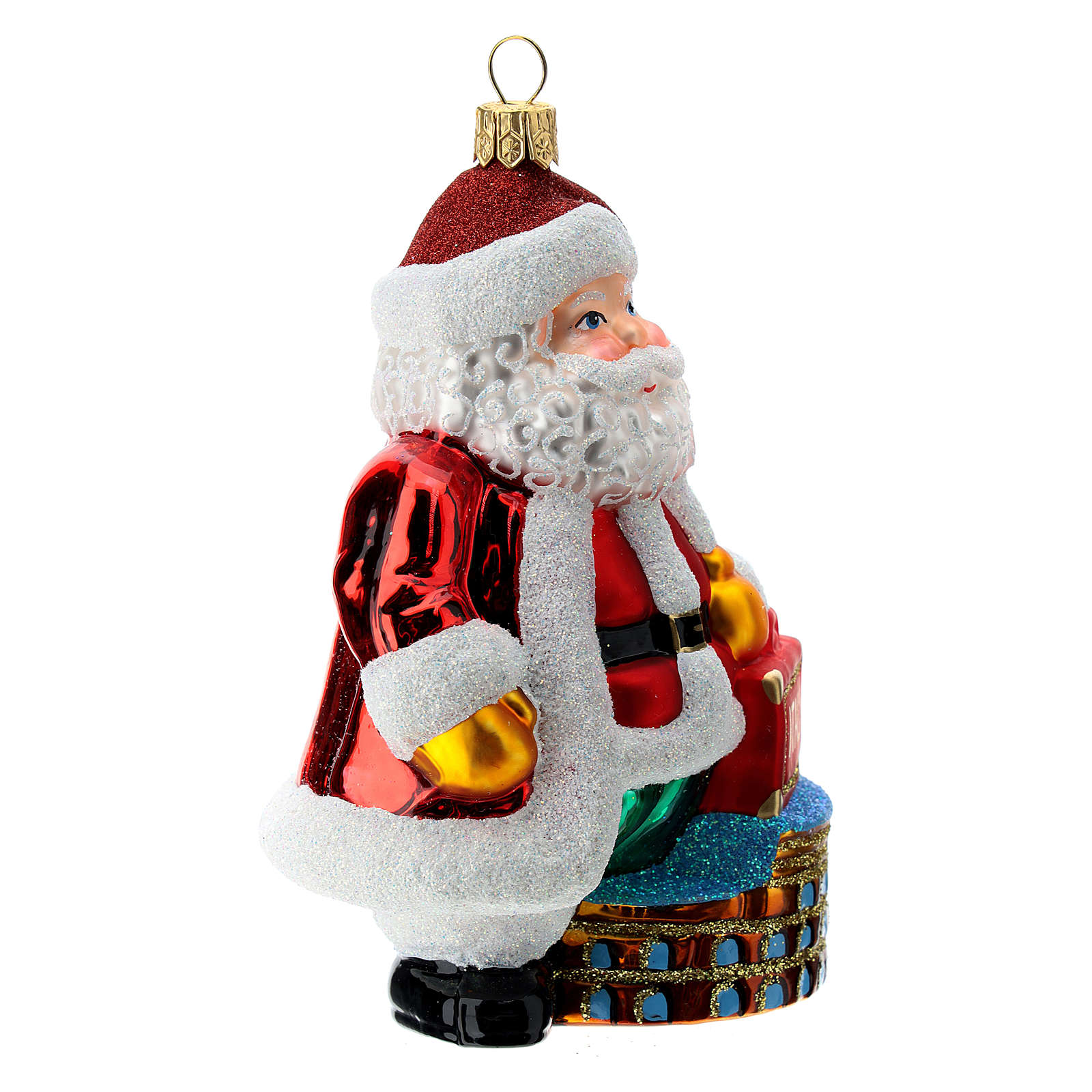 Blown glass Christmas ornament, Santa Claus in Italy 4